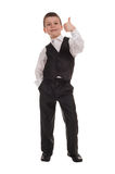 Boy in suit show best gesture Stock Photo