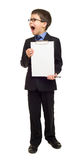 Boy in suit show blank clipboard Royalty Free Stock Image