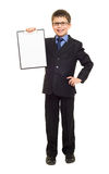 Boy in suit show blank clipboard Stock Photography