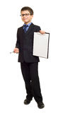 Boy in suit show blank clipboard Royalty Free Stock Photos