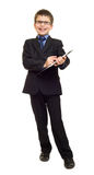 Boy in suit show blank clipboard Royalty Free Stock Images