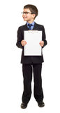 Boy in suit show blank sheet Stock Image
