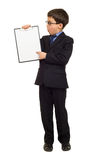 Boy in suit show blank sheet Royalty Free Stock Image