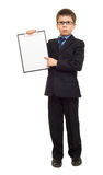 Boy in suit show blank sheet Stock Images