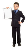 Boy in suit show blank sheet Royalty Free Stock Photo