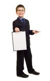 Boy in suit show blank sheet Stock Photo