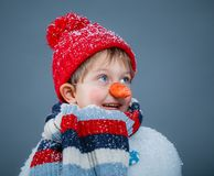 Boy in suit snowman Stock Images