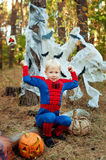 boy in a suit of Spiderman for Halloween Stock Photography