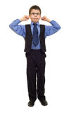 Boy in suit on white Stock Photo