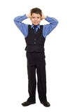 Boy in suit on white Royalty Free Stock Image