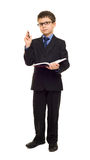 Boy in suit write diary Royalty Free Stock Images