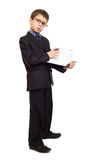 Boy in suit write diary Royalty Free Stock Photo