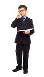 Boy in suit write diary Royalty Free Stock Image