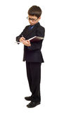 Boy in suit write diary Stock Photo