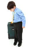 Boy with Suitcase over White Stock Photos