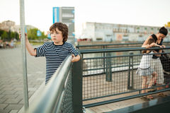 Boy sulking Stock Photography