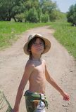 Boy in summer. Boy in bright solar day Royalty Free Stock Images