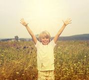Boy on a summer field Royalty Free Stock Image