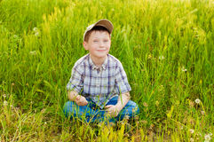 Boy on summer nature with dandelions Stock Photography