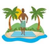 Boy with summer swimwear design. Boy with swimwear design, man summer male beach vacation and travel theme Vector illustration vector illustration