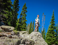 Boy Summits Mountain - Colorado. Young boy summits Rocky Mountain peak Stock Photos