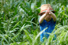 Boy  in sun straw-hat Royalty Free Stock Images