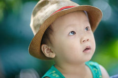 Boy  in sun straw-hat Royalty Free Stock Photos