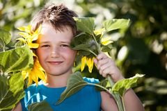 A boy with sunflower Royalty Free Stock Photos