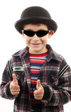 Boy with sunglasses and hat Royalty Free Stock Photo