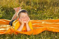 Boy in sunset Royalty Free Stock Photos