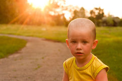 A boy on the sunset background Royalty Free Stock Images