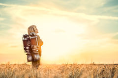 Boy at sunset Stock Images