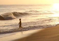 Boy at Sunset in Hawaii Ocean. Boy walks into ocean in Hawaii at Sunset Stock Photography