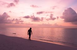 A boy at sunset in Maldives. This photo was taken at sand bank in Maldives stock photography
