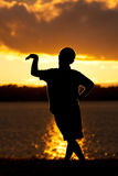 Boy Sunset Silhouette Pose Stock Photo