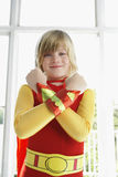 Boy In Superhero Costume With Arms Crossed Smiling Stock Photos