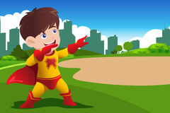 Boy in superhero costume Stock Photo