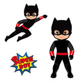 Boy superhero in flight and in standing position. Vector Illustration. Super Boy. Background Stock Photos