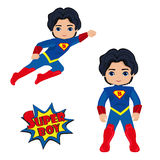 Boy superhero in flight and in standing position Stock Images