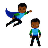 Boy superhero in flight and in standing position. Stock Photography