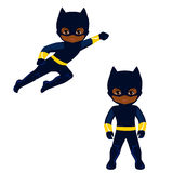 Boy superhero in flight and in standing position. Royalty Free Stock Photos