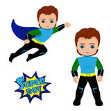 Boy superhero in flight and in standing position Royalty Free Stock Photography