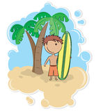 Boy and surfboard Stock Photo