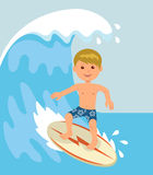 Boy surfer rides on the waves. Concept design of a summer holidays by the ocean Stock Photography