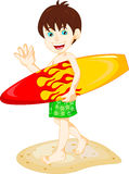 Boy Surfer with Surfboard Stock Photos