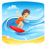 Boy Surfer Vector Royalty Free Stock Image