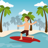 Boy surfing water sport extreme Royalty Free Stock Images