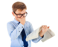 Boy Surprised With Book stock photos