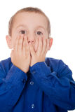 Boy with surprised or shocked expression Stock Photo