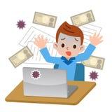 Boy surprised to computer viruses royalty free illustration